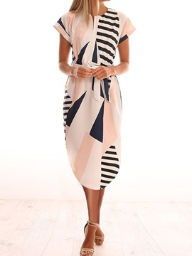 Ericdress Asymmetric Short Sleeve Mid-Calf Pullover Stripe Dress