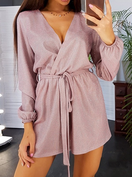 Ericdress Lace-Up Casual Plain Loose Straight Jumpsuit