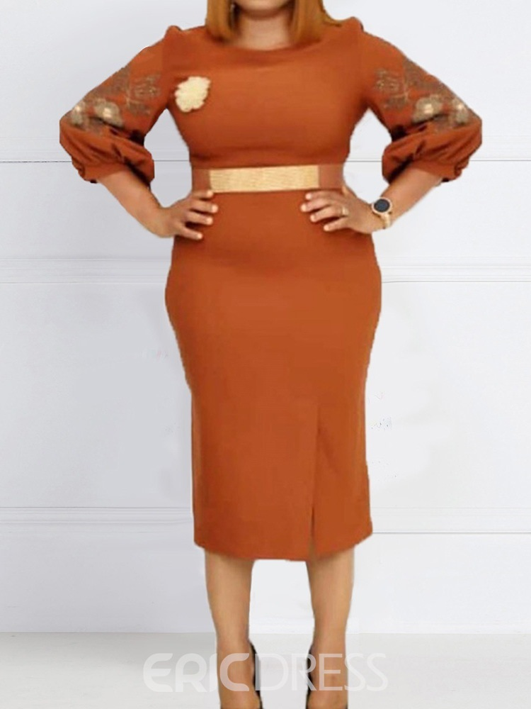 Ericdress Plus Size Embroidery Round Neck Elegant Pullover Dress