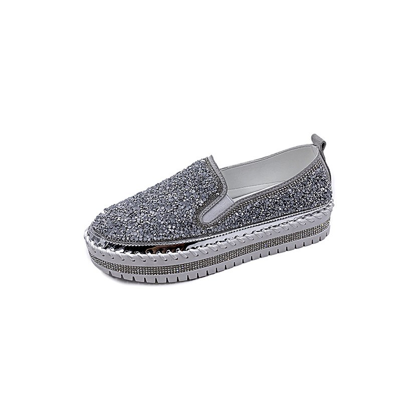 Ericdress Slip-On Round Toe Thread 4cm Thin Shoes