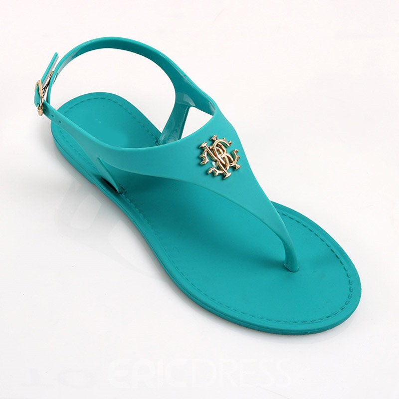 Ericdress Flat With Buckle Thong Casual Sandals