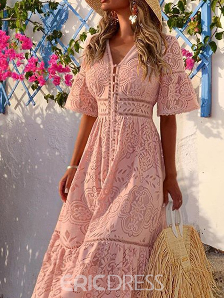 Ericdress Short Sleeve V-Neck Mid-Calf Floral Date Night/Going Out Dress