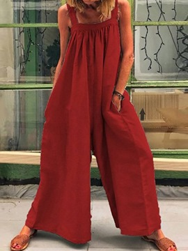 Ericdress Strap Plain Full Length Mid Waist Loose Jumpsuit