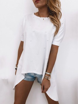 Ericdress Plain Short Sleeve Mid-Length Loose Casual T-Shirt