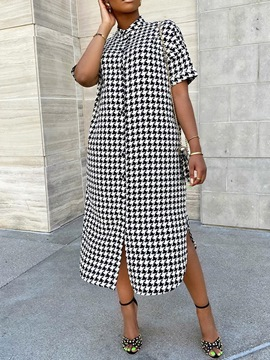 Ericdress Mid-Calf Print Short Sleeve Houndstooth Dress