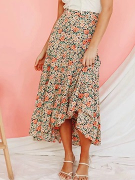 Ericdress Floral Asymmetrical Mid-Calf High Waist Casual Skirt