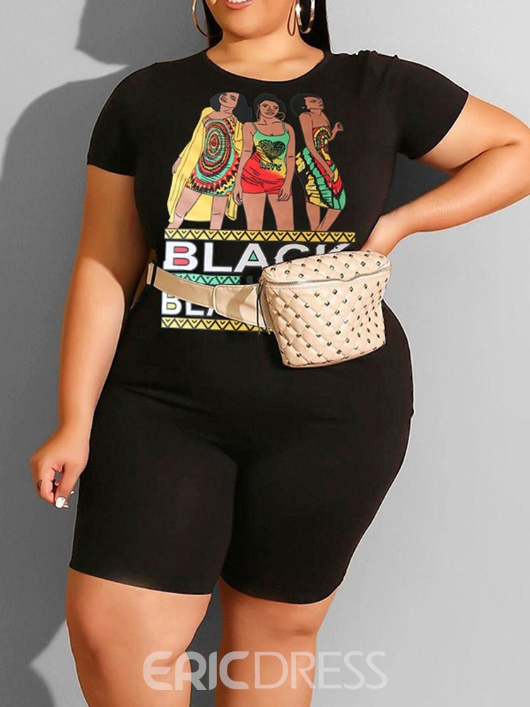 Ericdress Plus Size Shorts Western Print Pullover Pencil Pants Two Piece Sets