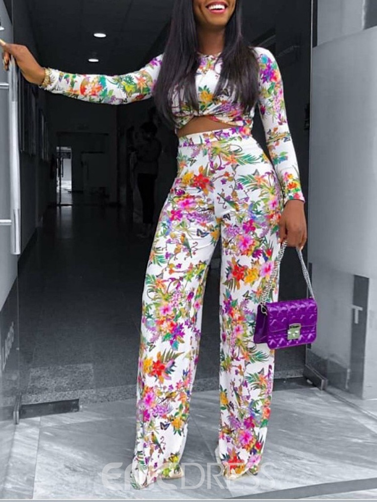 Ericdress Floral T-Shirt Print Straight Two Piece Sets