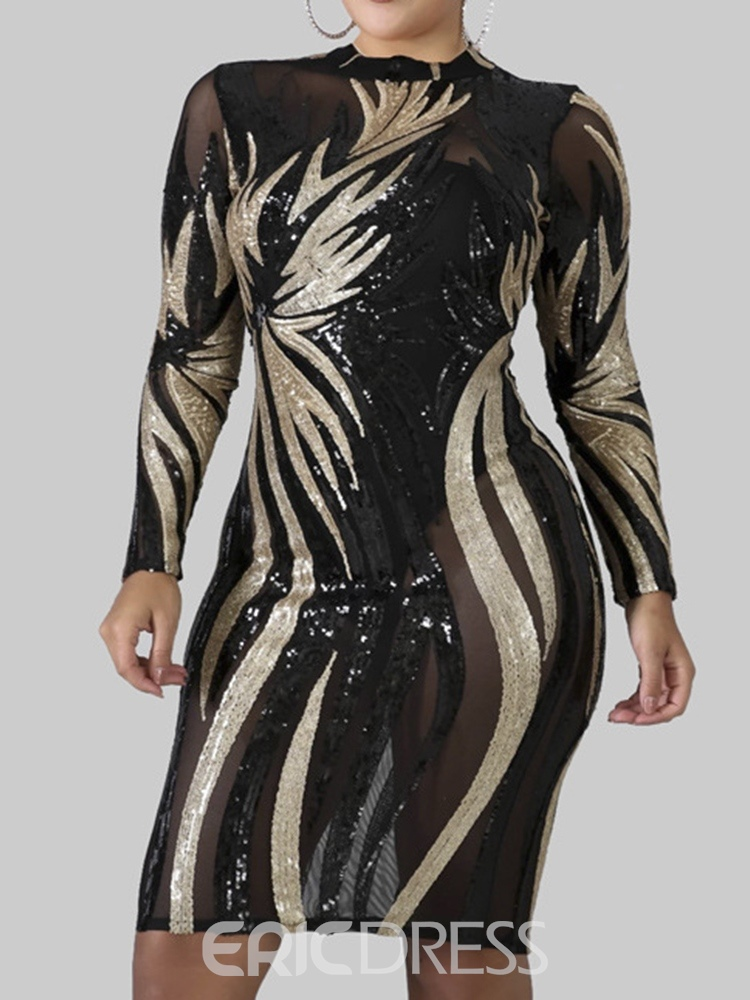 Ericdress Plus Size Sequins Long Sleeve Round Neck Color Block Bodycon Dress
