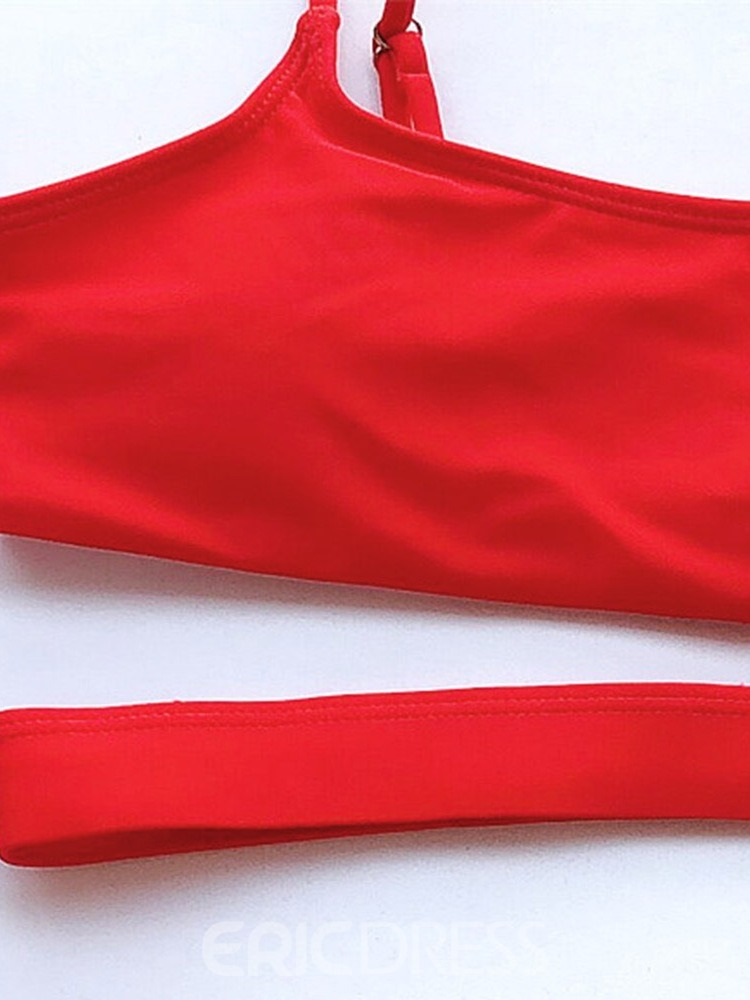 Ericdress Red Tankini Set Plain Swimwear