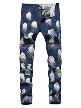 Ericdress Pencil Pants Print Hand Painted Mid Waist Zipper Jeans
