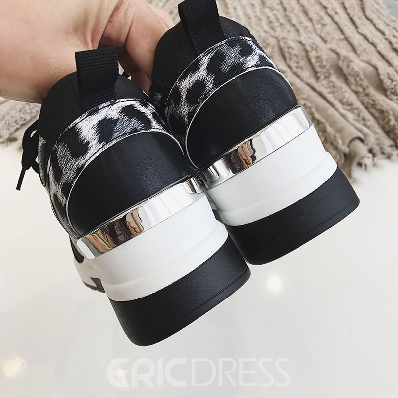Ericdress Print Lace-Up Round Toe PU Sneakers
