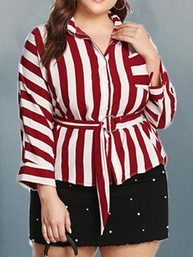Ericdress Plus Size Lapel Patchwork Stripe Nine Points Sleeve Standard Blouse