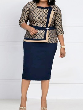 Ericdress Plus Size Mid-Calf Patchwork Regular Standard-Waist Dress