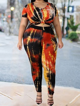 Ericdress Pants Plus Size Print Pullover Pencil Pants Two Piece Sets
