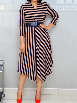 Ericdress Three-Quarter Sleeve Mid-Calf Belt Plus Size Pullover Dress