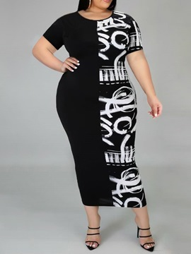 Ericdress Plus Size Mid-Calf Print Round Neck Pullover Regular Dress