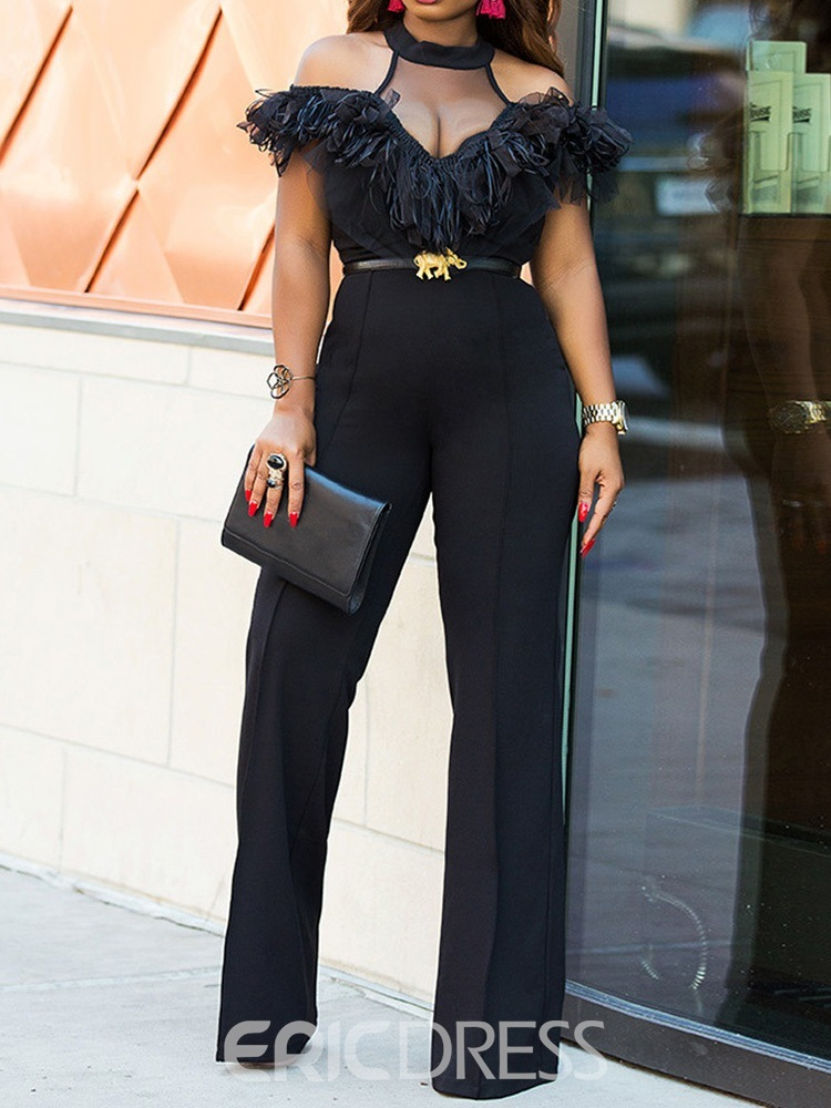 Ericdress Patchwork Full Length Sexy Slim Straight Jumpsuit