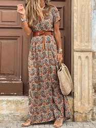 Ericdress V-Neck Short Sleeve Print Casual Mid Waist Dress фото