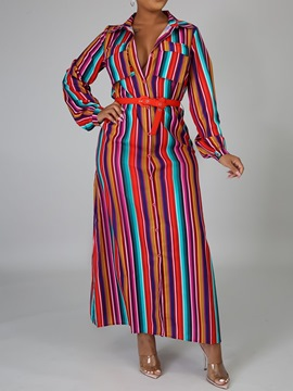 Ericdress Floor-Length Pocket Long Sleeve Mid Waist Stripe Dress