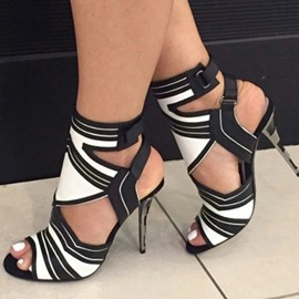 Ericdress Peep Toe Buckle Stiletto Heel Casual Sandals
