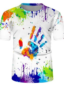 Ericdress Paint Splatters Round Neck Short Sleeve Pullover T-shirt