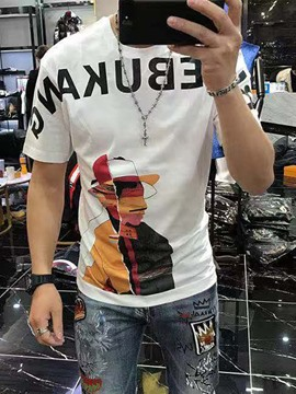 Ericdress Letter Round Neck Casual Men's Slim Short Sleeve T-shirt