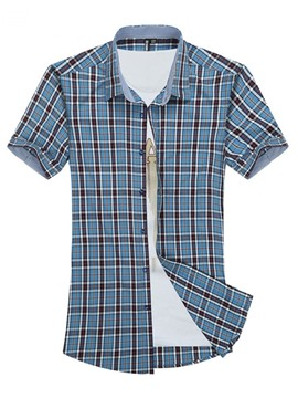Ericdress European Plaid Lapel Summer Slim Shirt