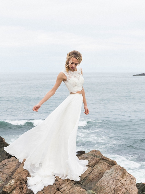 Ericdress Long Sleeves Bateau Floor-Length A-Line Beach Wedding Dress