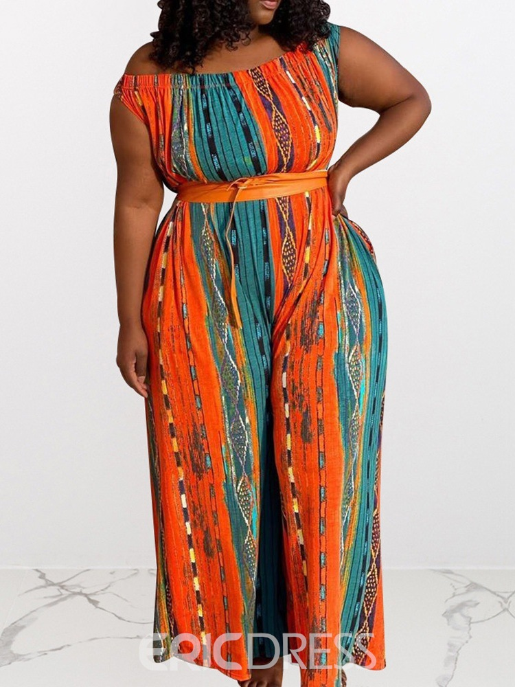 Ericdress Plus Size Full Length Lace-Up Sexy High Waist Loose Jumpsuit