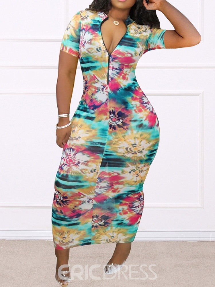 Ericdress Ankle-Length Print Short Sleeve Casual Color Block Dress