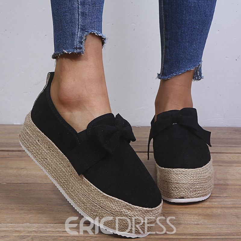 Ericdress Slip-On Bow Round Toe Low-Cut Upper Thin Shoes