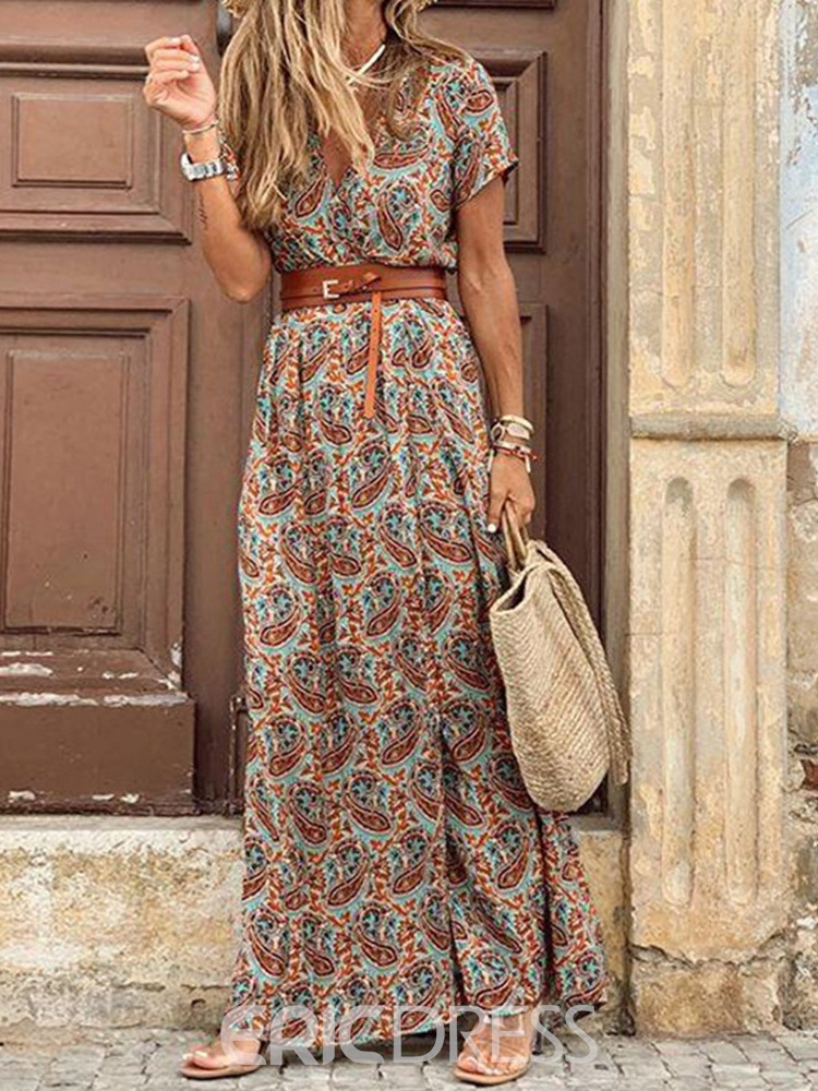 Ericdress V-Neck Short Sleeve Print Casual Mid Waist Dress