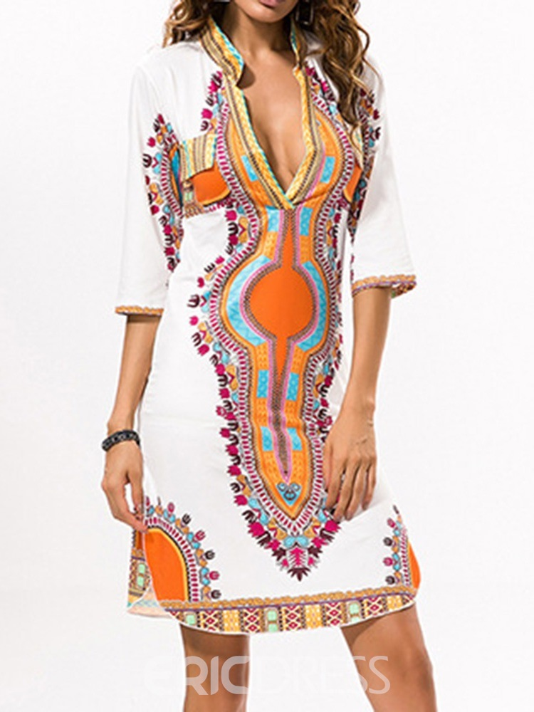 Ericdress Above Knee Three-Quarter Sleeve Print Geometric Pullover Dress