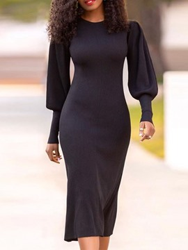 Ericdress Mid-Calf Round Neck Long Sleeve Wear to Work/Workwear Bodycon Dress