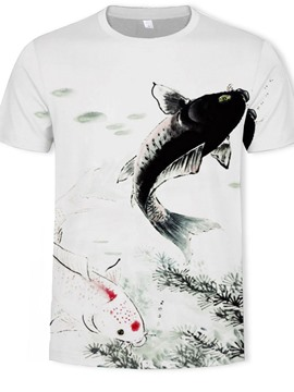 Ericdress Print Animal Round Neck Pullover Men's Short Sleeve T-shirt