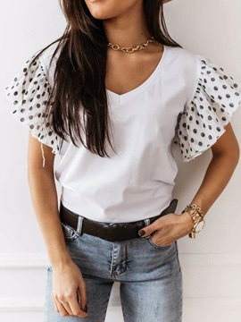 Ericdress Standard Polka Dots V-Neck Slim Casual T-Shirt