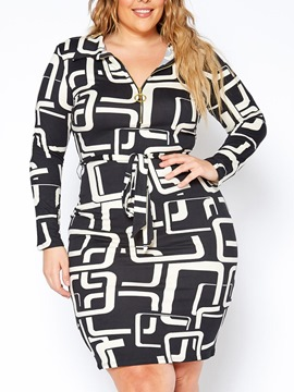 Ericdress Plus Size Long Sleeve Lapel Above Knee Geometric Standard-Waist Dress