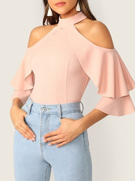 Ericdress Stand Collar Plain Ruffle Sleeve Three-Quarter Sleeve Standard Blouse