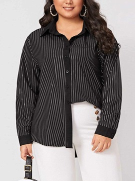 Ericdress Stripe Regular Lapel Mid-Length Long Sleeve Blouse