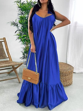 Ericdress V-Neck Sleeveless Floor-Length Spaghetti Strap Expansion Dress
