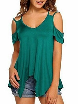 Ericdress V-Neck Standard Plain Loose T-Shirt