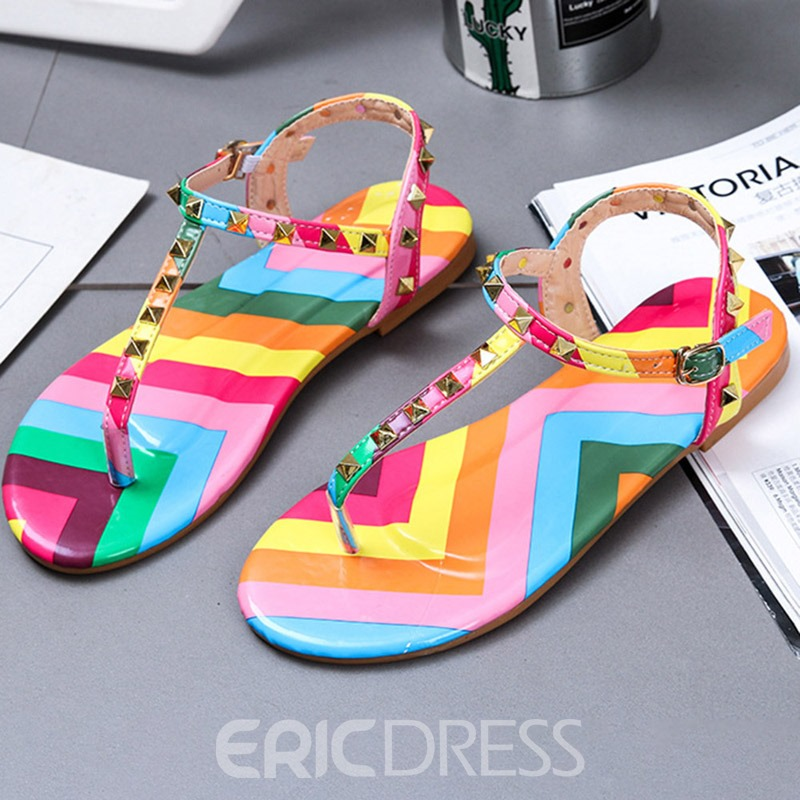 Ericdress Flat With Round Toe Buckle Camouflage Sandals