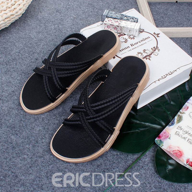 Ericdress Mesh Slip-On Flat With Plain Slippers