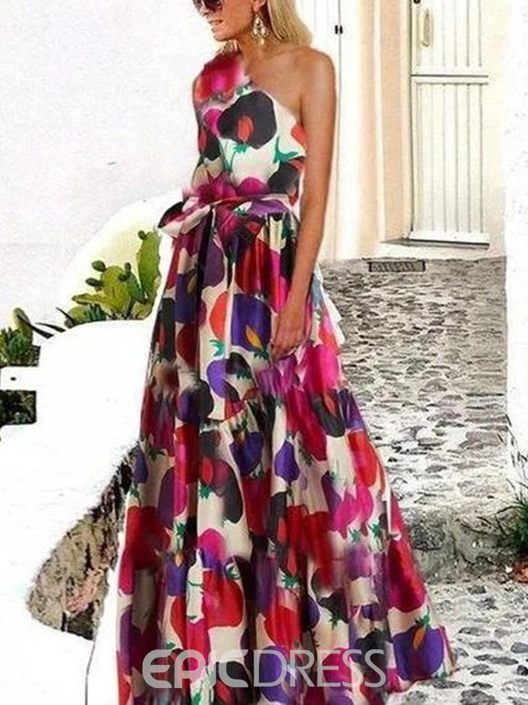 Ericdress Floor-Length Oblique Collar Sleeveless Dress Floral Women's Dress