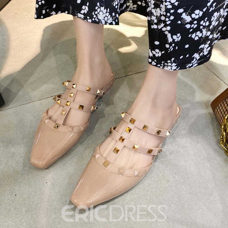 Ericdress Flat With Rivet Closed Toe Casual Slippers