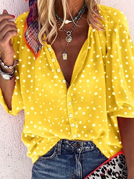 Ericdress Polka Dots Print Lapel Standard Long Sleeve Blouse