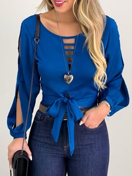 Ericdress Hollow Round Neck Plain Short Long Sleeve Blouse