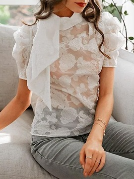 Ericdress Floral Lace Puff Sleeve Standard Short Sleeve Blouse