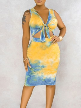 Ericdress Color Block Skirt Tie-Dye V-Neck Bodycon Two Piece Sets